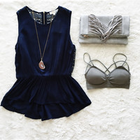 A Lace Back Tank in Navy