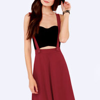 Keep in Touch Wine Red Suspender Skirt