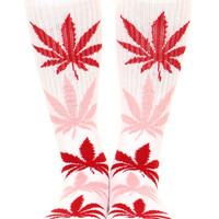 WHITE/PINK/RED PLANTLIFE CREW SOCK