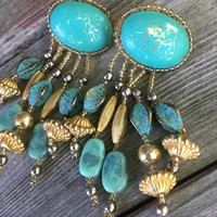 Striking Funky Vintage 80's / 90's Boho Hand Crafted Turquoise Beaded Chandelier Dangles with sewn soft leather backs & clip ons