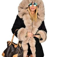 Women Long Down Jackets Thick Warm Winter Fur Collar Designer Coats Army Camouflage Military Down Parkas Coat