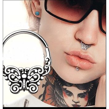 316L Stainless Steel Ornate Butterfly Seamless Ring / Septum Ring