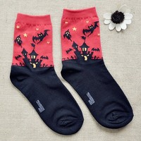 FunShop Woman's Halloween Bats Pattern Cotton Ankel Socks in 2 Colors Red D1117