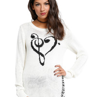 Ivory Clef Heart Girls Sweater