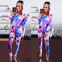 2020 autumn new women's tie-dye printing round neck long-sleeved top + trousers two-piece suit
