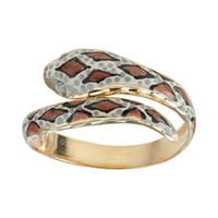 14k Gold & Sterling Silver Snake Ring (Yellow)