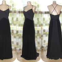 Vintage 90s Black Velvet & Draped Georgette Formal Gown M/L With Train Open Back Gothic Gatsby Dress