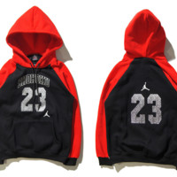 """Air Jordan"" Fashion Casual Unisex Multicolor Loose Cartoon Letter Pattern Print  Round Neck Long Sleeve Couple T-shirt Hooded Plus Cashmere Sweater"