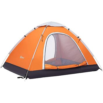 Ubon 2-3 Person Pop up Tent Instant Tent Lightweight Backpacking Tent Camping Orange