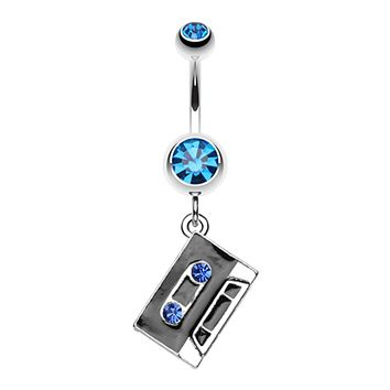 Cassette Tape Sparkle Belly Button Ring