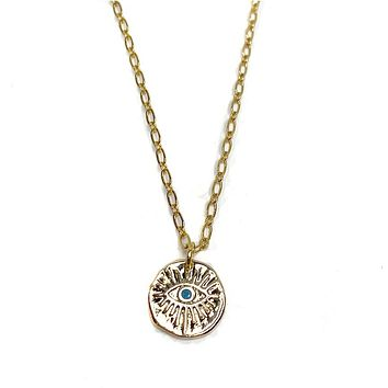 Turquoise Evil Eye Coin Necklace