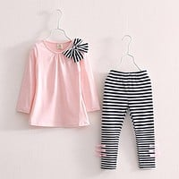 Baby Kids Clothes Girls Sets Cotton Casual Children Clothing Set Long Sleeve Tops Striped Pants Roupas Infantis Menina