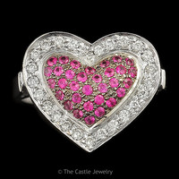 Ruby & Round Diamond Heart Shaped .50 CTTW Cluster Ring In 18K White Gold