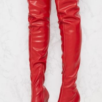 Red PU Pointed Thigh High Boot