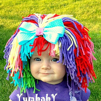 Clown Costume Baby Hat Baby Girl Clown Wig Pageant Clothes Colorful Wig Toddler Costume Photo Prop Dress Up Clothes Kids Cap