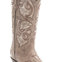 Corral® Women's Bone Tan w/Floral Fancy Stitch Snip Toe Western Boots