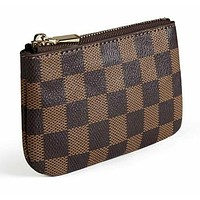 Luxury Zip Checkered Key Chain pouch   PU Vegan Leather Purse Wallet with clasp