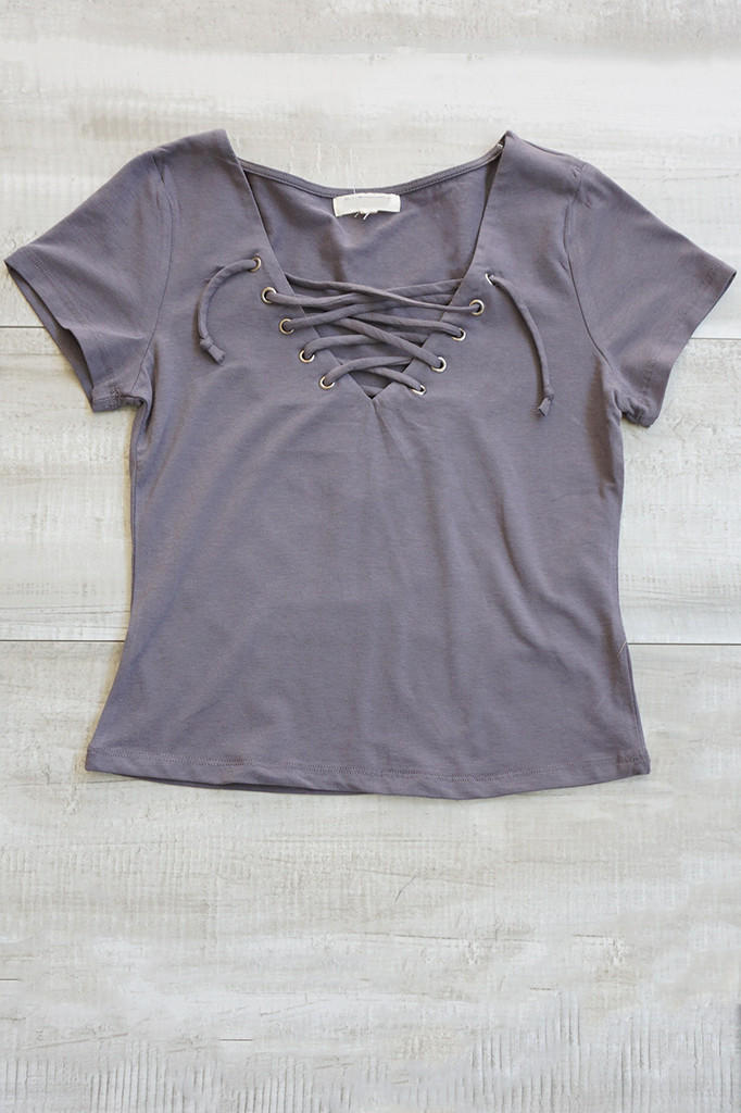 Image of Poppy Lace Up Top - Gray