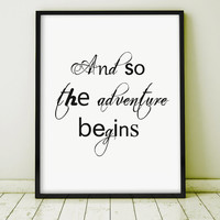 """GICLEE PRINT """"And So The Adventure Begins"""" Letterpress Motivation Inspiration Home Decor  Art Print Handwriting Caligraphy Gift Wal Decor"""