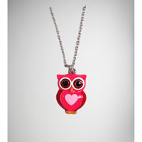 Pink Heart Owl Necklace