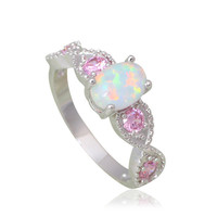 Beautiful Pink Zirconia Rings for Women White Fire Opal Silver Stamped Fashion Jewelry Rings USA sz #6.5#7#8#9#10.5 OR770A