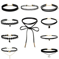 10 Pic Choker Necklace Set Stretch Velvet  Gothic Tattoo Lace Choker Gift For Women  3Size