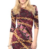 Plum Chained in Floral Body Con Dress