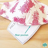 Pocket Face Mask + Adjustable Loops ~ Cream Pineapple Punch