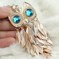 New Women Fashionable Stylish Gold Leaves Owl Charm Pendant Necklace Long Chain = 1946001348