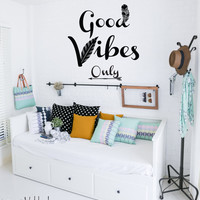 Good vibes only wall decal, bohemian decor, feather wall decal, teen room decor, bedroom wall decal, boho quote wall decal, boho decor