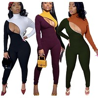 Women Sexy Color Patchwork Zipped Long Sleeve Fashion Jumpsuit