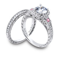 Kirk Kara hand-engraved pink sapphire three stone engagement ring from the Kirk Kara Carmella collection crafted with 0.57 carats of diamonds and 0.18 carats of pink sapphires