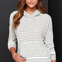 Obey Lowell Black and Ivory Striped Hooded Sweater