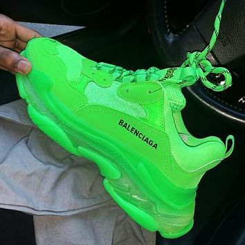 Vsgirlss Balenciaga Shoes High Quality Contrast Crystal clear shoes Triple sole Shoes Green