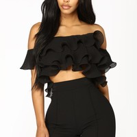 Ruff And Tough Ruffle Crop Top - Black