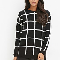 Grid-Patterned Sweater