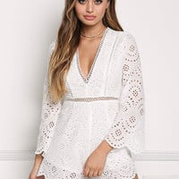 Ivory Eyelet Scallop Plunge Romper