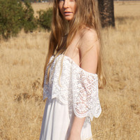 BohemianWedding Dresses Lace Ivory White Off The Shoulder 70s Hippie Wedding Gown Vintage - Hadley