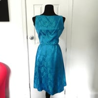 1950s/ 60s Teal Brocade Cocktail Dress