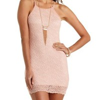 Racer Front Bodycon Lace Dress by Charlotte Russe