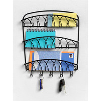 3-Tier Letter Holder Organizer with Key Hooks in Black Metal Finish