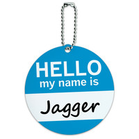 Jagger Hello My Name Is Round ID Card Luggage Tag