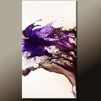 Original Abstract Art Painting - 48x24 Contemporary Canvas Art by Destiny Womack - dWo -  Felicity