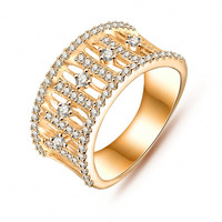Gold/Silver Plated Beautiful Hollow Crystal Ring Jewelry
