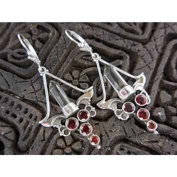 Garnet & Herkimer Diamond (Quartz) Sterling Silver Chandelier Earrings