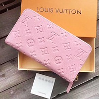 LV Louis Vuitton Fashion New Monogram Leather Wallet Purse Women Pink
