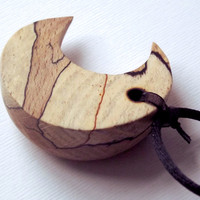 Wood Moon Necklace, Carved wood Moon Pendant, Moon Jewelry, spalted wood jewelry, Handmade, Moon Necklace, Rustic, wicca, pagan necklace, uk