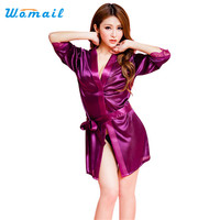Amazing Summer Spring Women Bathrobe Sexy Lingerie Sleepwear Nightgown Bath Robes Black Purple Pink White