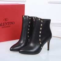 Valentino Trending Women Black Leather Side Zip Lace-up Ankle Boots Shoes High Boots