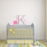 Elephant Baby Girl Nursery Wall Decal - Custom Name Wall Decal - Elephant Nursery Decor - Girl Name Wall Decal with Elephant Above Bed Decor
